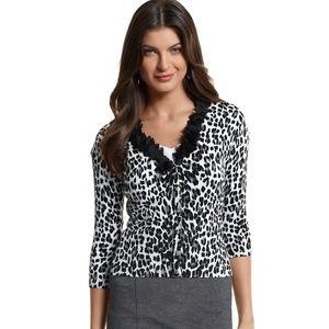 White House Black Market Leopard Ruffle Cardigan